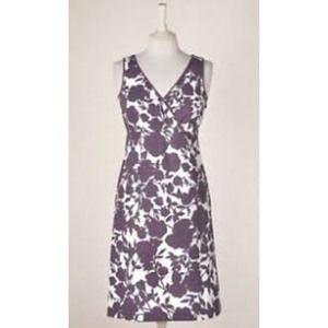 Boden Purple White Floral V Neck Amalfi Dress 6